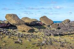 Fallen Moai Statues at Ahu Akahanga - Easter Island, Chile royalty free stock photo