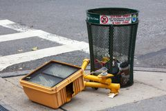 Fallen NYC Traffic Light after Hurricane Sandy Royalty Free Stock Photos
