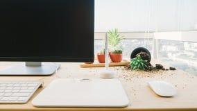 Fallen pot plant on desk. Stock Image