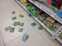 Fallen products from grocery Stock Image