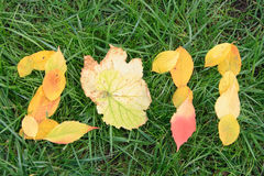 Fallen red and yellow leafs making 2011 digits Stock Photo
