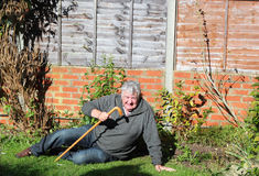 Fallen senior. An elderly man with a walking stick that has fallen over and is trying to get up Royalty Free Stock Image