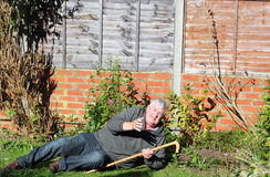 Fallen senior asking for help. An elderly man with a walking stick has fallen over and is asking for help to get up again Royalty Free Stock Images
