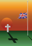 Fallen soldier grave. And UK flag at half mast Royalty Free Stock Photos