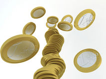 Fallen stack of euro coins. Falling stack of one euro coins Stock Photography