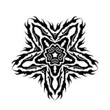 Fallen Star Vector Glyph Symbol. A black and white folk stylized vector pentagram star symbol Stock Photos