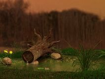 Fallen tree fantasy background Stock Images