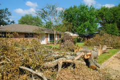 Fallen tree and home. Hurricane force winds made this tree fall over.  Taken after Hurricane Ike came through Houston, Texas Royalty Free Stock Photo
