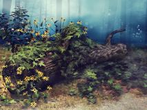 Fallen tree with ivy and flowers Stock Photos