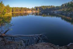 A fallen tree on the shore of a beautiful quarry with clean water.. Tall stone. Ukraine. stock photos