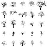 Fallen Tree silhouette set Stock Image