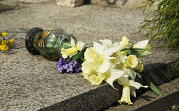 Fallen vase with flowers stock photo