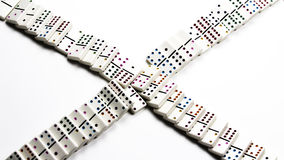 Fallen White Ceramic Dominoes In Crossing Pattern Stock Photography