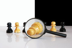 Fallen white pawn enlarged wit Royalty Free Stock Photography