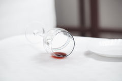 Fallen wineglass Stock Photos