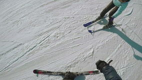Fallen woman on sky. After skiing girl fell and crying stock video footage