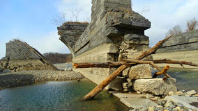 Fallen wreckage. Of a bridge in upstate NY Royalty Free Stock Images