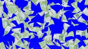 Fallende Banknoten des Euros Stockfotos