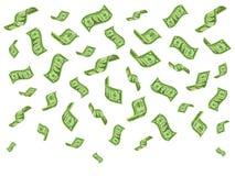 Fallende Banknoten Reichtumsgeldbezeichnungen regnen, fallende Dollarscheine und Dollar regnend, vector Karikaturkonzept vektor abbildung