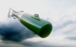 Fallende Bomben gegen den bewölkten Himmel Atom Bomb Wiedergabe 3d Lizenzfreies Stockbild