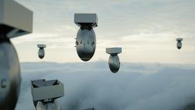 Fallende Bomben gegen den bewölkten Himmel Atom Bomb Wiedergabe 3d Stockfotografie