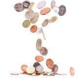 Fallende britische Münzen Lizenzfreie Stockbilder