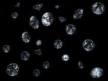 Fallende Diamanten 3D auf Schwarzem Stockbild