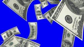 Fallende Dollar (Schleife auf blauem Schirm)