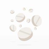Fallende Drogen oder Pillen-Medizin auf Weiß Stockfotos