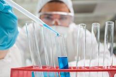 Fallende Flüssigkeit des Wissenschaftskursteilnehmers in einem Reagenzglas Lizenzfreie Stockfotografie