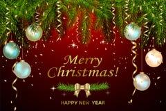 Fallende goldene Konfettis Gold, das frohe Weihnachten und guten Rutsch ins Neue Jahr beschriftet Vektorillustration für Feiertag vektor abbildung