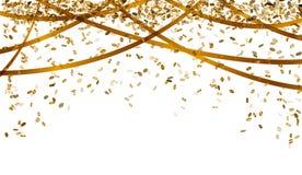 Fallende Goldkonfettis Lizenzfreie Stockbilder