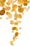 Fallende Goldmünzen Stockfoto
