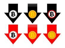 Fallende Ikone Bitcoin-Rate Farb Cryptocurrency mit unten Pfeil Stückchenmünzeneinsturz fällt ab Auch im corel abgehobenen Betrag lizenzfreie abbildung