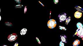 Fallende Pokerchips auf einem schwarzen Hintergrund vektor abbildung