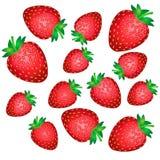 Fallende rote Erdbeerbeeren lokalisiert auf weißem Hintergrund lizenzfreie abbildung
