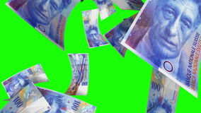 Fallende Schweizer Franken (Schleife auf Greenscreen) stock video footage