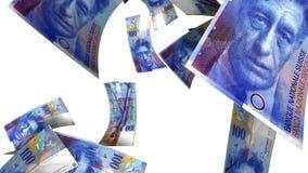 Fallende Schweizer Franken (Schleife auf Weiß) stock video