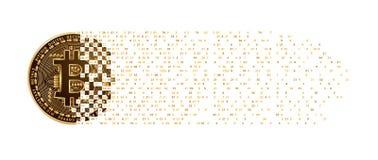 Fallende Stellen der digitalen Münze Währung Bitcoin goldenen Stockfotos