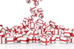 Fallende Weihnachtsgeschenkboxen Stockfoto