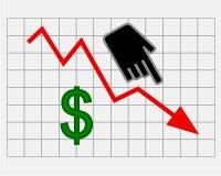 Fallender Aktienkurs des Dollars Lizenzfreies Stockfoto