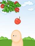 Fallender Apfel Stockbild