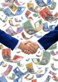 Fallender Geld-Australier-Händedruck Stockfotos