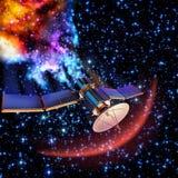 Fallender künstlicher Satelitte hat oben gebrannt Stockfotos
