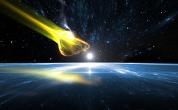 Fallender Komet und blaue Planeten-Erde Stockfotos