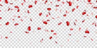 Fallender Konfettis lokalisierter wei?er transparenter Hintergrund des Herzens Rote Fallherzen Valentine Day-Dekoration Liebesele stock abbildung
