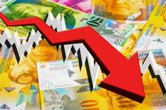 Fallender Pfeil mit Geldhintergrund der Schweizer Franken Lizenzfreie Stockfotografie