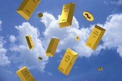 Fallender Preis des Goldes dargestellt durch eine goldene gelbes Metallstange Lizenzfreie Abbildung