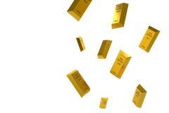 Fallender Preis des Goldes dargestellt durch eine goldene gelbes Metallstange, die unten geht Lizenzfreie Abbildung