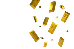Fallender Preis des Goldes dargestellt durch eine goldene gelbes Metallstange, die unten geht Stock Abbildung